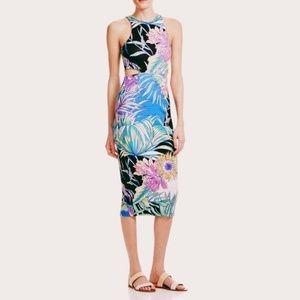 Mara Hoffman Viva Cut Out Midi Dress in Blue Palms